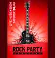 rock festival concert party flyer with guitar vector image vector image