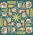 seamless pattern cute jungle animals for decor vector image