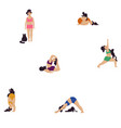 seamless pattern girl doing yoga with a cat vector image vector image