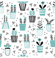 seamless pattern with cute painted potted plants vector image vector image