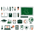 Set of school supplies vector image vector image
