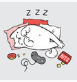 sleeping on the pillows white cat with joystick vector image