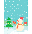 snowman in forest vector image vector image