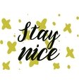 Stay nice inscription Greeting card with vector image vector image