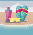 summer beach with flip flops and set icons vector image vector image