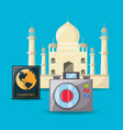 tag mahal architecture with passport and camera vector image vector image