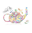 teapot sketch with floral tea for your design vector image