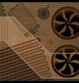 technical background fan and evaporator parts vector image