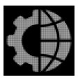 white halftone international manufacture icon vector image vector image