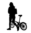 woman silhouette walking with bike vector image vector image