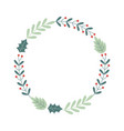 wreath floral decoration celebration merry vector image