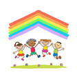 kids jumping with joy on a hill under rainbow vector image