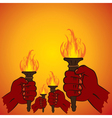 fire torch in every hand vector image