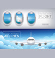 airplane window the tourist banner airplane in vector image vector image