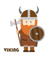 angry cartoon viking with beard in helmet vector image vector image
