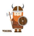 angry cartoon viking with beard in helmet vector image