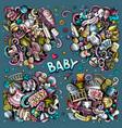 baby cartoon doodle designs set