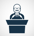 Bald-headed man at rostrum - speaker vector image vector image