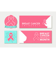 Breast cancer awareness set of banners and label vector image vector image