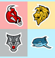 bull lion wolf and shark logo set vector image