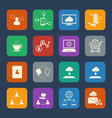 business and social network icons set flat design vector image vector image