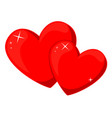 cartoon red pair of loving hearts vector image