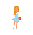 cartoon smart girl in glasses with book in hand vector image