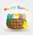 chick in eggshell in a basket with easter eggs vector image vector image