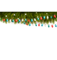 Christmas background with branches and a garland vector image vector image