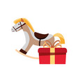 christmas rocking horse and gift decoration vector image