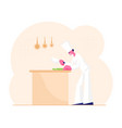 concentrated man chef in white uniform and toque vector image vector image