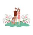 couple of parents with daughter sitting on chair vector image vector image
