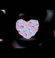 cristal polygonal heart made of holographic foil vector image