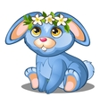 Cute blue bunny with flowers and pink ears vector image