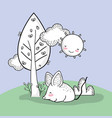 cute mouse animal with happy sun vector image vector image