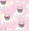dog french bulldog heart sunglasses glasses icon vector image