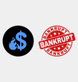 dollar fire icon and distress bankrupt vector image vector image