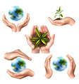 ecology symbols with realistic hands vector image vector image