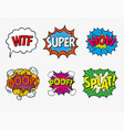 expression text wtf super wow oops posplat vector image vector image