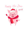 funny card design with cute cartoon pig vector image vector image