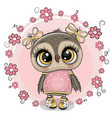 greeting card owl with flowers on a pink vector image vector image