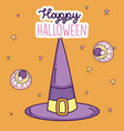 happy halloween celebration witch hat and creepy vector image