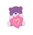 happy valentine day icon with teddy bear vector image