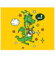 hipster dragon cartoon t shirt design vector image vector image
