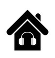 house icon with earphones isolated on white vector image