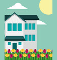 house with two story and tulips flowers garden vector image