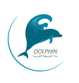 logo dolphin and wave vector image vector image