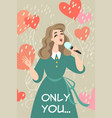 lovely girl singing a love song vector image vector image