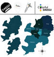 map of daegu with districts south korea vector image vector image