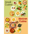 Mexican and greek cuisine icon for food design vector image vector image